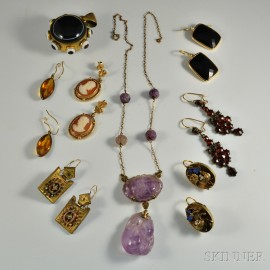Group of Victorian Hardstone and Gemstone Jewelry