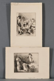 Raphael Soyer (American, 1899-1987)      Two WPA Interior Views:  Furnished Room