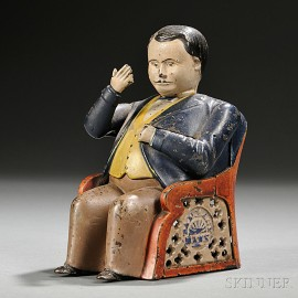 """Painted Cast Iron Mechanical """"Tammany"""" Bank"""