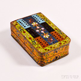 Folding Cloisonne-decorated Cribbage Board
