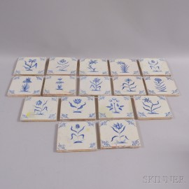 Sixteen Blue and White Floral-decorated Delft Tiles