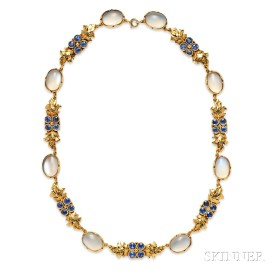 Arts and Crafts 18kt Gold, Moonstone, and Sapphire Necklace, Margaret Rogers
