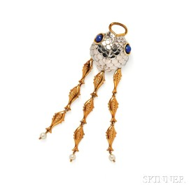 Whimsical Bicolor Gold, Lapis, and Cultured Pearl Pendant/Brooch