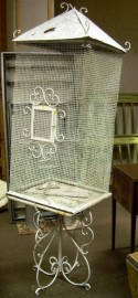 White-painted Iron Birdcage on Stand.