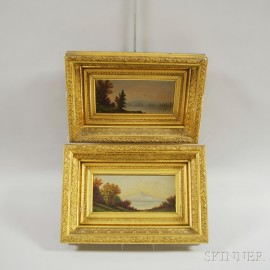 Pair of Framed Oil on Board New Hampshire Landscapes