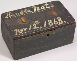 Painted Pine Box, Dated 1863