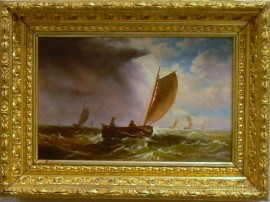 Framed American School Oil on Canvas Marine View with an Approaching Storm