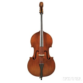 French 7/8 -size Double Bass, Ascribed to A. Bernardel, Paris