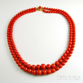 14kt Gold and Coral Double-strand Necklace