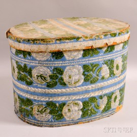 Wallpaper Hat Box with Floral Bands