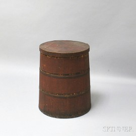Red-painted Stave-constructed Barrel