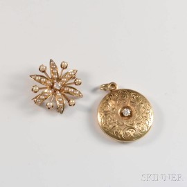 Two Pieces of Gold and Diamond Jewelry