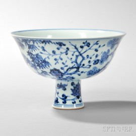 Blue and White Stem Bowl