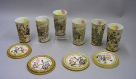 Six Villeroy & Boch PUG Ceramic Beakers and a Set of Four Stoneware Coasters