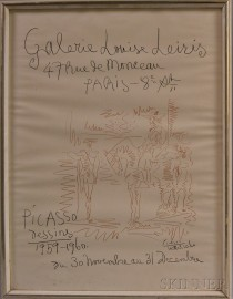After Pablo Picasso (Spanish, 1881-1973)      Poster for Picasso Dessins 1959-1960  , Galerie Louise Leiris, Paris