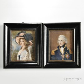 Pair of Grand Tour Portrait Miniatures of Admiral Lord Nelson and Lady Hamilton