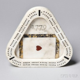 """Triangular Carved Inlaid Marble """"1779"""" Cribbage Board"""