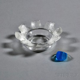 "Lalique Crystal Ring and ""St. Nicholas"" Ashtray"