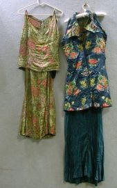 Art Deco Metallic Thread and Silk Pants Suit and Chinese Brocade Silk Tunic and Underdress.