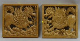 Two Asian Carved Wood Dragon Panels
