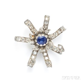 Platinum, Sapphire, and Diamond Brooch