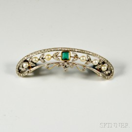 Edwardian Platinum, Gold, Emerald, Diamond, and Pearl Enhancer