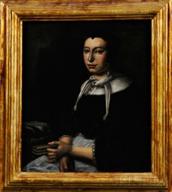 Dutch School, 17th Century Style      Portrait of a Woman Holding a Book