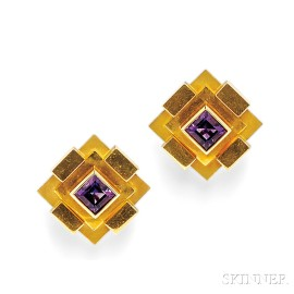 18kt Gold and Amethyst Earclips