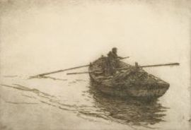Lot of Two Seafaring Prints:  Sears Gallagher (American, 1869-1955), Rowing the Dory