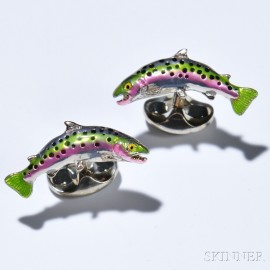 Pair of Trout Cuff Links, Deakin & Francis, sterling silver and enamel, signed.