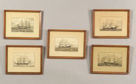 American School, 19th Century  Five Illustrations of Sailing Vessels.