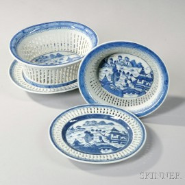 Two Canton Porcelain Fruit Baskets and Undertrays
