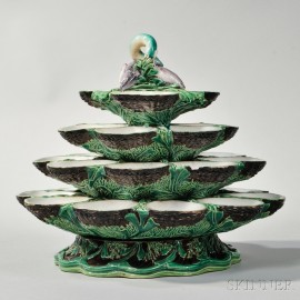 Minton Majolica Four-tier Revolving Oyster Stand