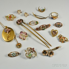 Group of Gold and Enamel Jewelry