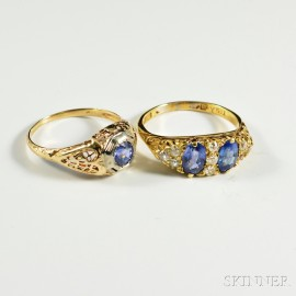Two Gold and Sapphire Rings