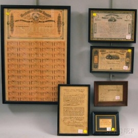 Six Framed 18th and 19th Century American Printed Documents