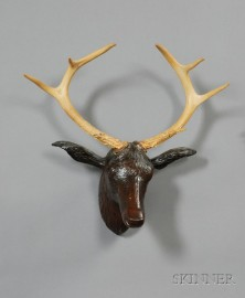 Carved Walnut Stag Head with Antlers