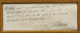 Jefferson, Thomas (1743-1826) Signature Clipped from a Document, 4 December 1801.