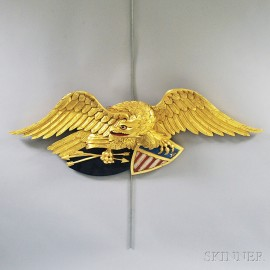 Polychrome Carved and Gilt Spreadwing Eagle