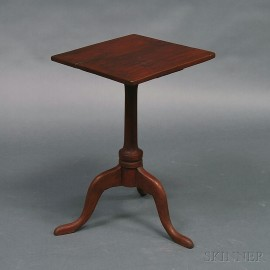 Queen Anne Red-painted Square-top Candlestand