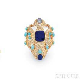 18kt Gold, Lapis, Diamond, and Turquoise Brooch