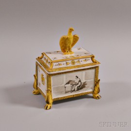 Continental Faience Covered Box with Eagle Knop