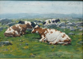 George Arthur Hays (American, 1854-1945)      Lot of Two Landscapes with Cattle: Oaklawn