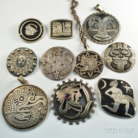 Ten Mexican Silver Brooches and Pendants