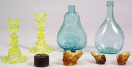Eight Early Colored Glass Items