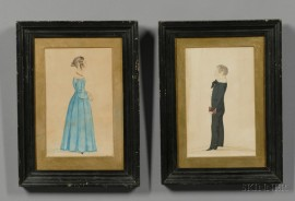 American School, 19th Century      Pair of Portraits of a Boy and Girl.