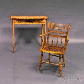 Yellow-painted Stencil-decorated Dressing Table and Thumb-back Windsor Armchair