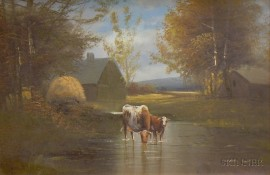 Framed Oil on Canvas of Cattle Watering