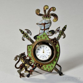 Enameled Watch Holder and an Open-face Swiss Watch