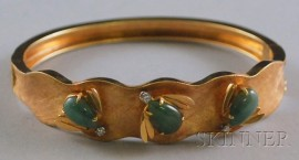 14kt Gold, Jade, and Diamond Bangle Bracelet